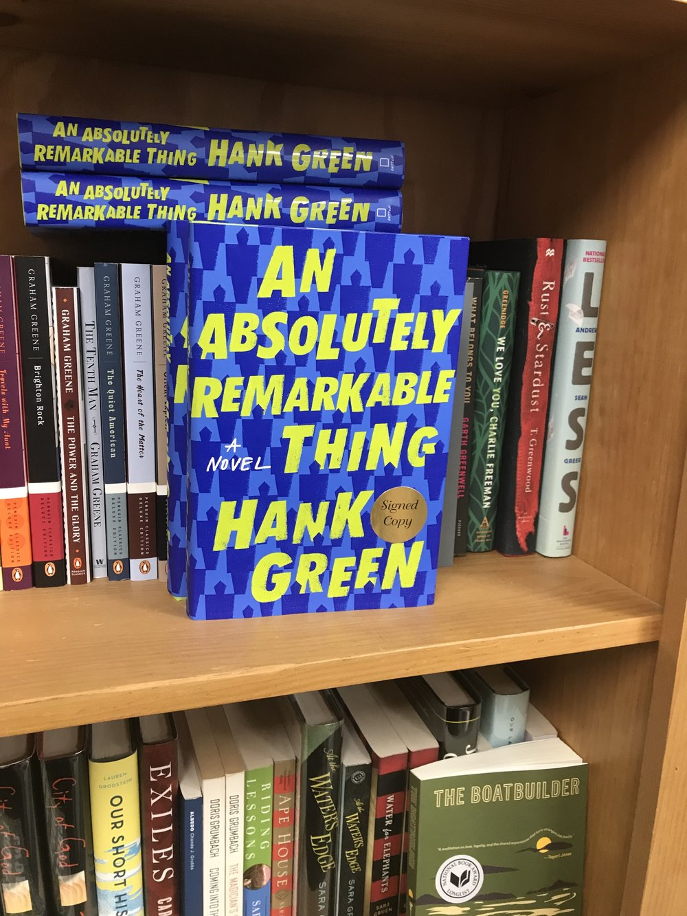 Upcoming pick, An Absolutely Remarkable Thing by Hank Green on display at Lemuria!
