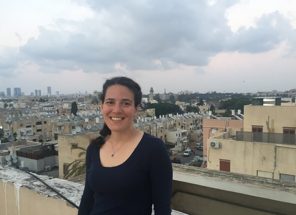 Emily Cohen on her balcony while studying in Jaffa last spring.