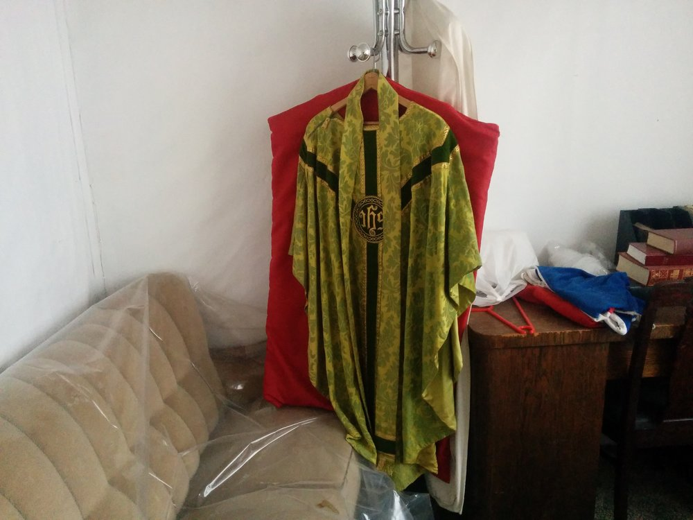 We were set up in a church house, with some priest robes and conformation robes.