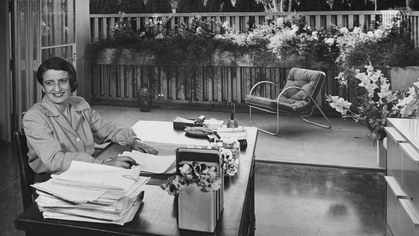 Ayn Rand at her desk in San Fernando Valley © Julius Shulman/Conde Nast via Getty Images