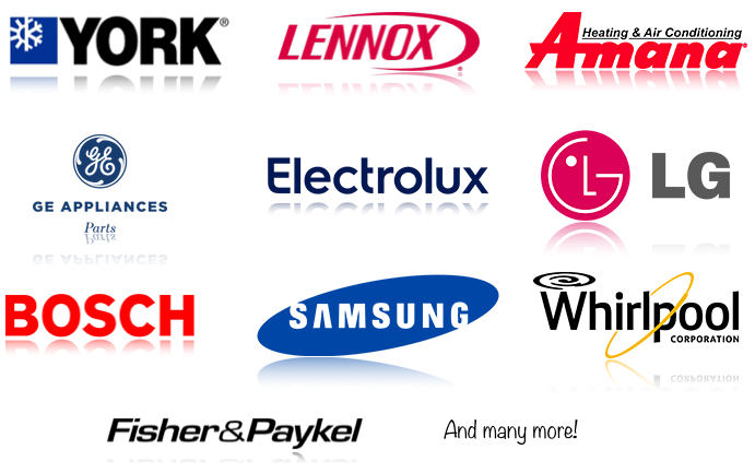 Just a sample of the brands that we provide parts for!