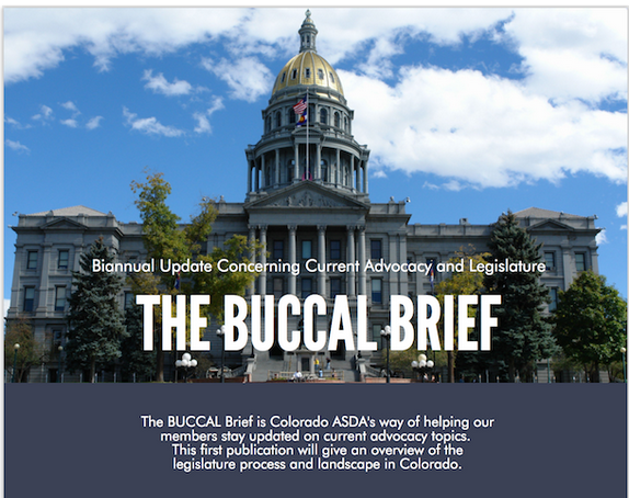 The Buccal Brief   BUCCAL stands for Biannual Update Concerning Current Advocacy and Legislation and is our way of helping our members stay updated on current advocacy topics. BUCCAL will launch this upcoming fall with our Advocacy Academy and our ADPAC Drive.