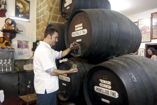 Pepe Garcia and barrels at Taberna La Manzanilla, Cádiz. Image: Audrey Gillan.