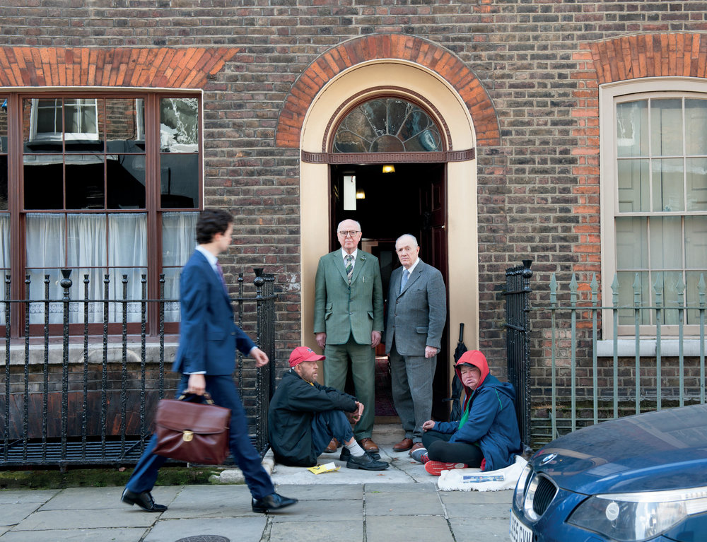 Tara and George, photographed with Spitalfields-based artists Gilbert and George
