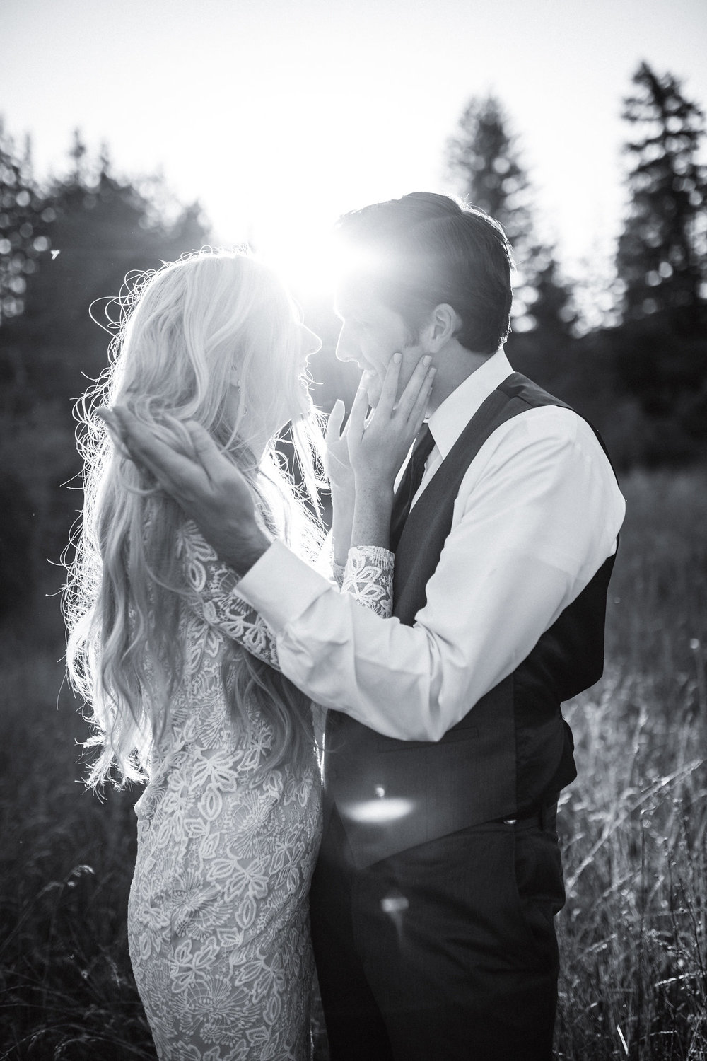 bride and groom wedding golden hour outdoor wedding makeup and hair beauty love