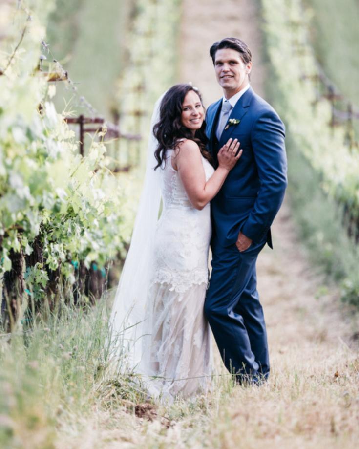 bride and groom portrait in vineyard outdoor wedding kim baker beauty san jose california makeup artist travel to sutter creek