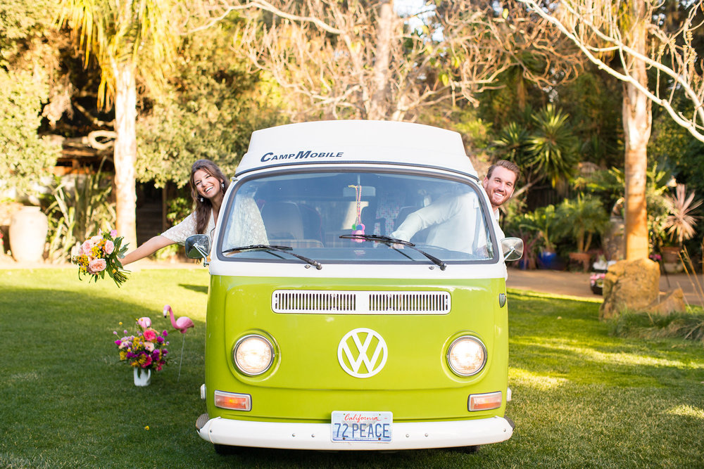 bride holding tropical bouquet and groom leaning out of green vw bus kim baker beauty san jose california makeup artist wedding styled photoshoot at the holly farm in carmel