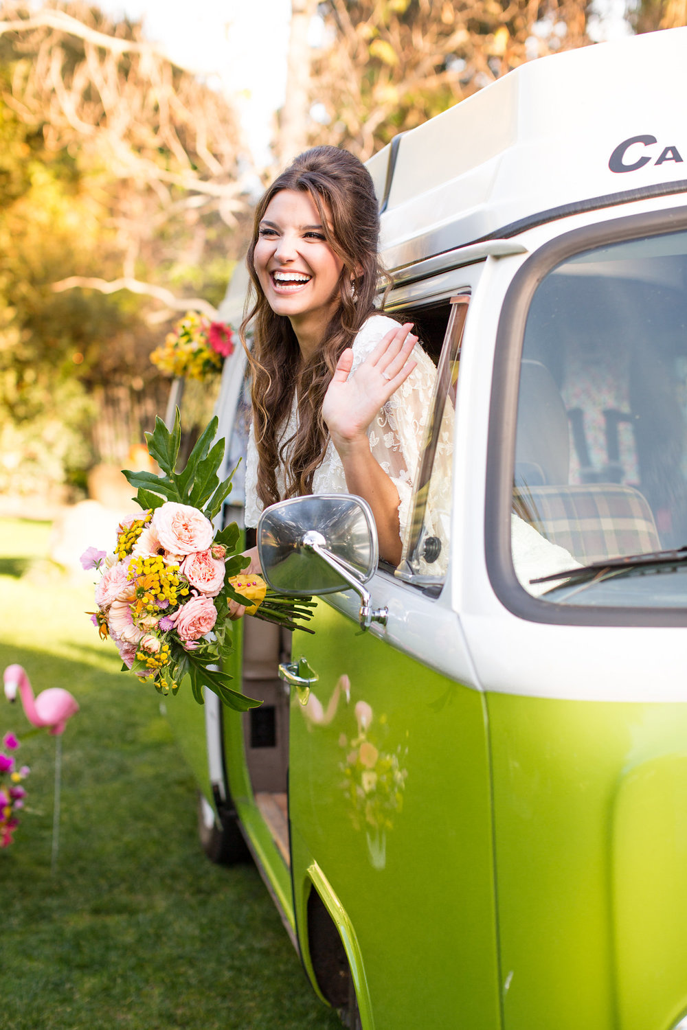bride inside green vw bus with tropical bouquet kim baker beauty san jose california makeup artist wedding styled photoshoot at the holly farm in carmel