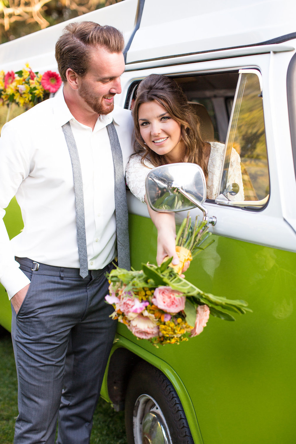 bride and groom with green vw bus and tropical bouquet kim baker beauty san jose california makeup artist wedding styled photoshoot at the holly farm in carmel