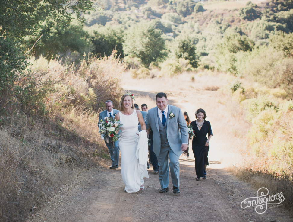 bride and groom at picchetti winery in cupertino taking portraits on hiking train in nature makeup by kim baker beauty san jose california makeup artist
