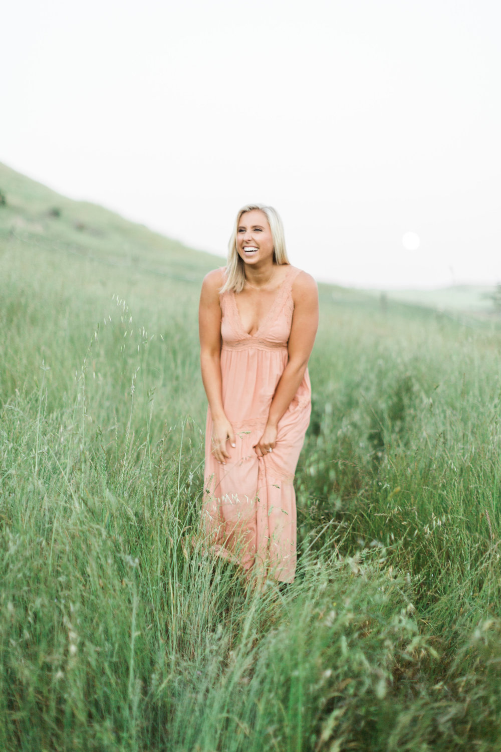 bride during engagement session in coral maxi dress in the grassy fields of sonoma subtle soft reomantic natural makeup by kim baker beauty san jose california makeup artist