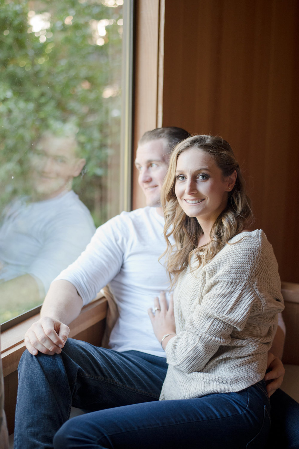 indoor cozy engagement photoshoot in santa cruz bride's soft glam neutral makeup by kim baker beauty san jose california makeup artist