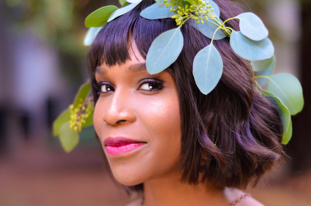 sharon hadden of i'm social savvy models as a forest fairy with photographer brittany gorman of seventh skin raspberry lipstick and glowing makeup by kim baker beauty san jose california makeup artist