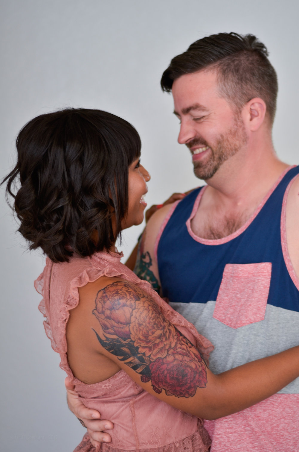 seventh skin temporary tattoos photographed on interracial couple by brittany gorman makeup by kim baker beauty san jose california makeup artist