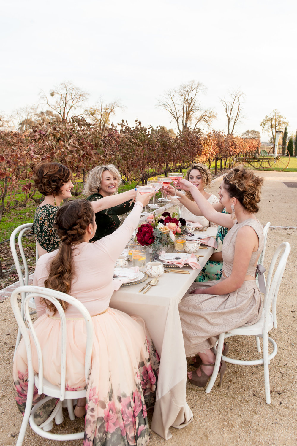 engagement tea party outside in vineyard at the fitz place in san martin ladies cheersing to the bride in hand made dresses and skirts by the taste studio braids curls and buns with glowing