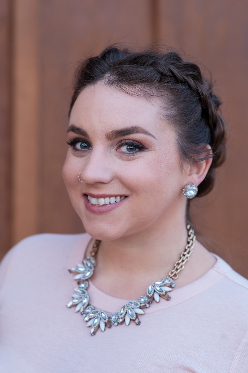 bridesmaid at fitz place in san martin wearing rose toned soft romantic glam glowing makeup by kim baker beauty san jose california makeup artist