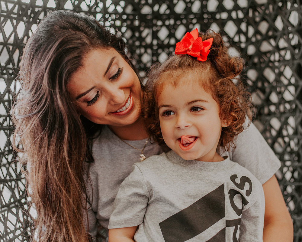 blogger raphael lobo and daughter wearing adidas and glowing glamour skin forward makeup and long curly hair by kim baker beauty san jose california makeup artist