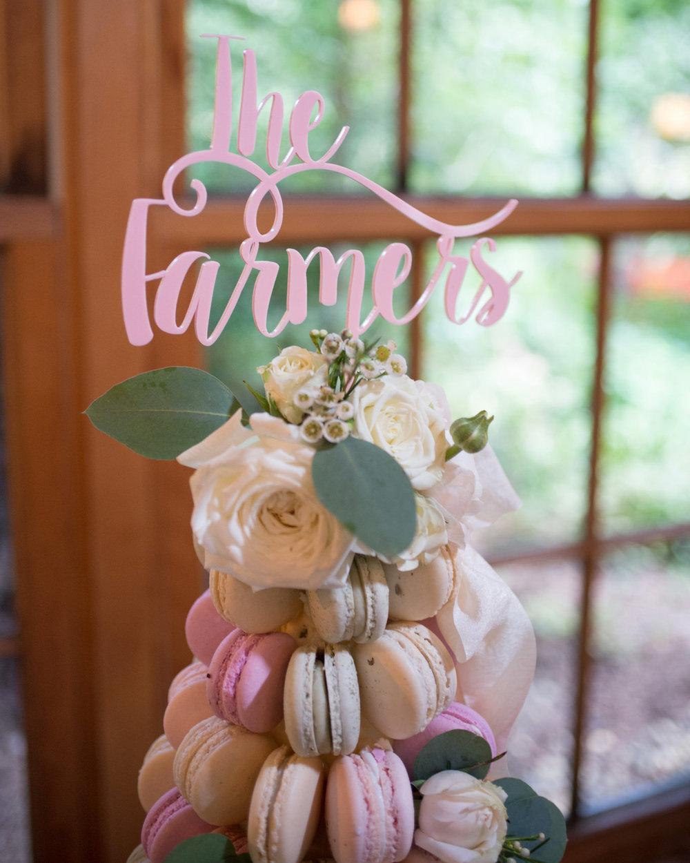 macaron tower at nestledown wedding