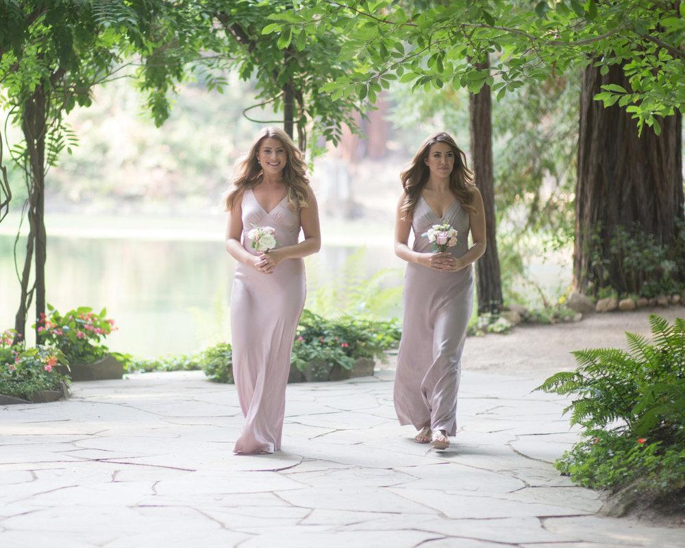 bridesmaids in blush mauve silk floor length dress at nestledown los gatos wedding venue makeup by kim baker beauty