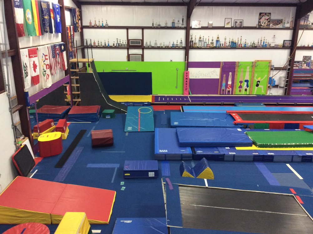 We have many cheeses, pac-mans, boulder, air track, tumble track, and many more pieces of equipment and mats.