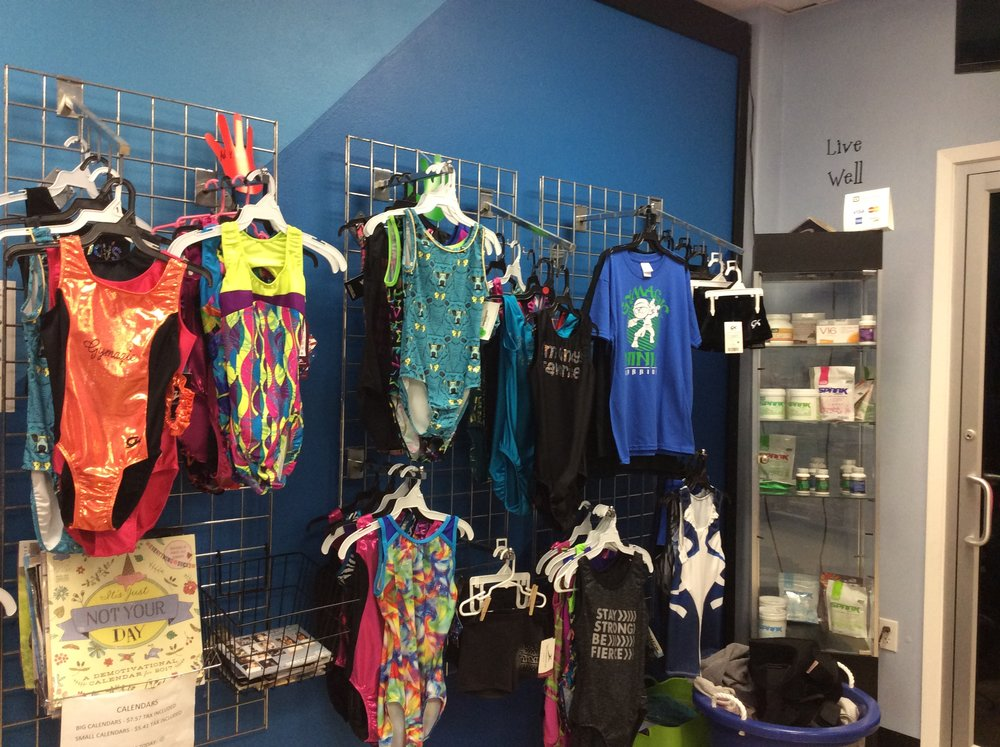 We have many Leos to choose from in pro shop. We often have sales on leotards, trampoline shoes, and we even carry spark.