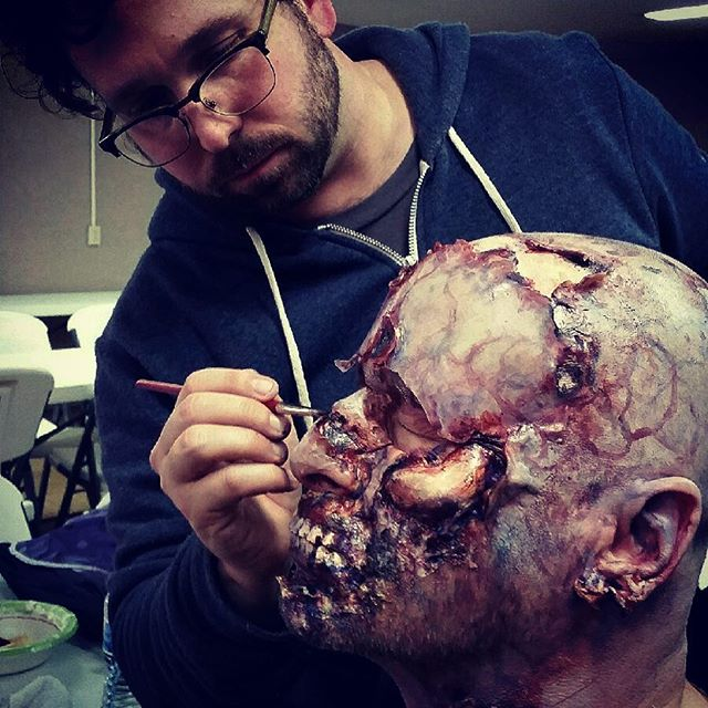The vultures got to him. @npshelton knows how to bring the #gore @abovegroundmovie @showtime #indiefilm #sfxmakeup #sfxmakeupartist #sfxgore #supportindiefilm #onset #happyhalloween
