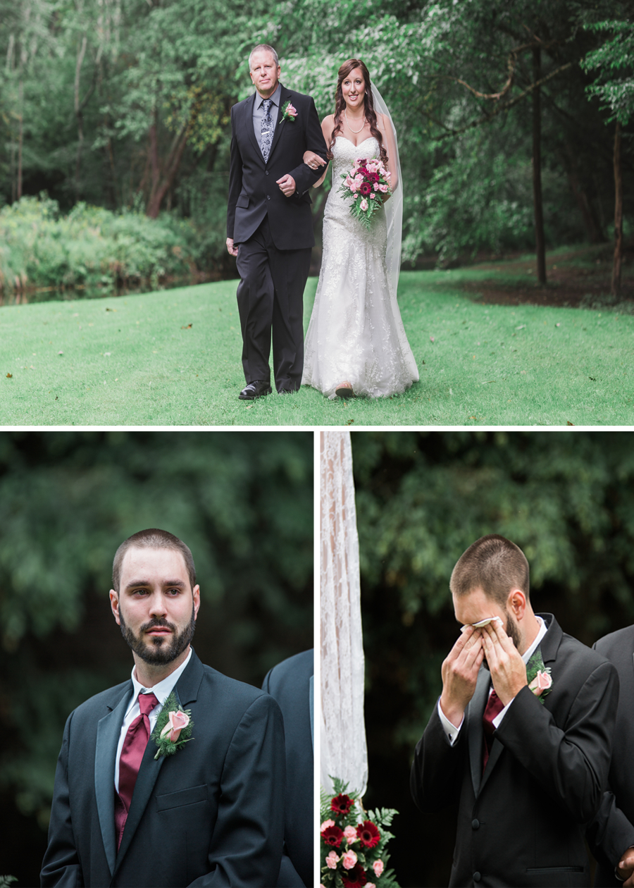 My favorite part of the ceremony is seeing the grooms reaction when he see's his bride!