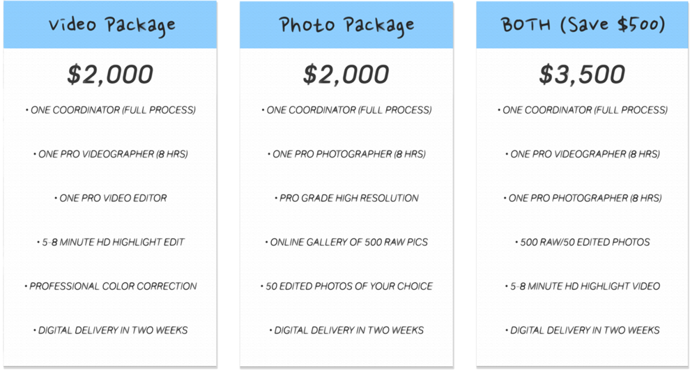"ADD-ONs:  Same-Day Edits. Additional Photographers, Videographers, and Hours. Full 30-40 min Edits. Custom DVDs, BluRays, and Photo Albums, etc.   90-Min Photo Ops:  Engagement Session, Bridal Portraits, ""Day-After"" Session, ""Trash The Dress"" //  $900 includes  75/100 RAW PHOTOS & 25 EDITED PHOTOS"