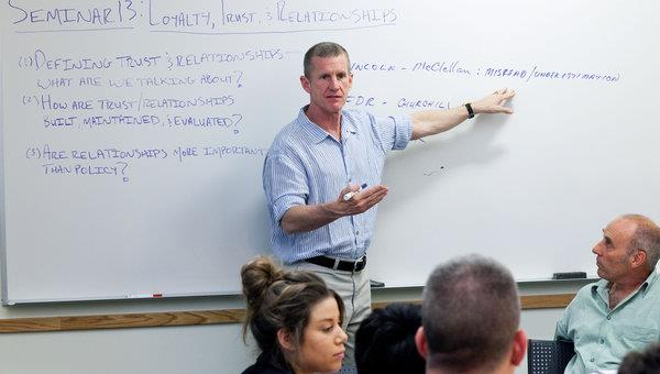 General Stanley McCrystal teaching his course, GLBL 790, Leadership - a popular choice each year for SOM veterans