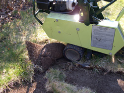 Sod cutter - Check a rental yard for availability and delivery since these can be very heavy. Mark utility caps, sprinkler heads, electric dog fences and anything shallow to avoid damage.