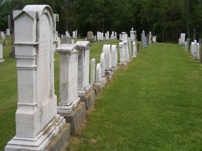 Reverend Alexander Donnan and family headstones near the site of his former church in Hickory, Pa.