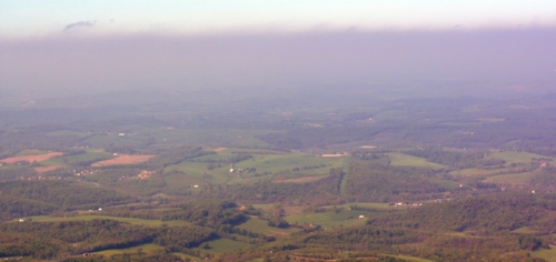 On this May morning in 2015 we see a 'black veil' over Marcellus shale drilling and fracking territory in northern Washington County, Pa. With prevailing westerly winds, air pollution also reaches our county from Ohio and the Panhandle of West Virginia, where extensive shale gas production activities are also on the increase.