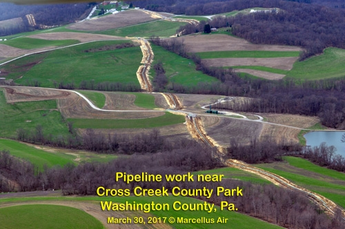 As more wells were drilled, more pipelines were excavated to move gas to local and foreign markets. Trees can never be planted on the 50 to 100 foot wide right-of-ways of these pipelines and some were not required to be recorded on the 811 'Call Before You Dig' system.
