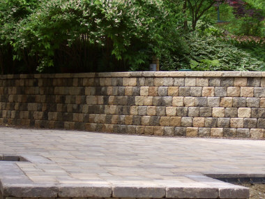 Precast wall with matching patio
