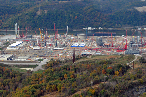 According to a public health expert, this new ethane cracker plant north of Pittsburgh, Pa. will create air pollution equivalent to adding 40,000 automobiles to the roads in that county.