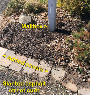 This homeowner added a row of precast pavers between the asphalt curb and the mailbox to prevent tire ruts from mail vehicles.
