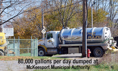 Municipal Authority of McKeesport  was taking 80,000 gallons per day of frac wastewater, which would be equivalent to about 20 of these tanker truckloads, per day! The authority liked getting 5-cents per gallon, adding to their revenue stream. This POTW is located next to the Monongahela River, the source of our tapwater. It was years later we learned how much  radioactive, water soluble Radium 226  (Ra226) was contained in this fracking waste, and Ra226 has a radioactive half-life of  1,600 years !