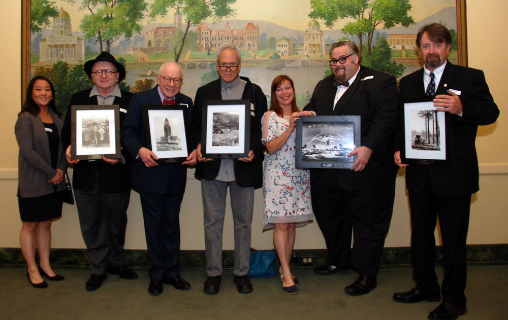 Our 2015 awards recipients: Loni Shibuyama (ONE archives), Joseph Hawkins (ONE archives), Martin Krieger, Gary Leonard, Regina O'Brien (Los Angeles Conservancy 2014), Chris Nichols (Los Angeles Conservancy 2014), Michael Sanborn (on behalf of the the Muller family). Photo: Michael Locke