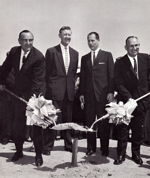 """From left to right, Governor Edmund G. """"Pat"""" Brown, State Senator Richard Richards, Lieutenant Governor Glenn M. Anderson and Assemblyman Vincent Thomas break ground for construction of the Vincent Thomas Bridge on May 28, 1960."""