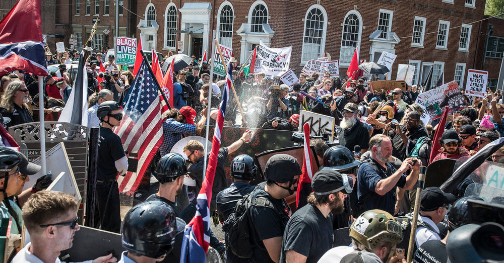 """""""You had some very bad people in that group, but you also had people that were very fine people, on both sides,"""" Donald Trump on the Charlottesville riots, 2018"""