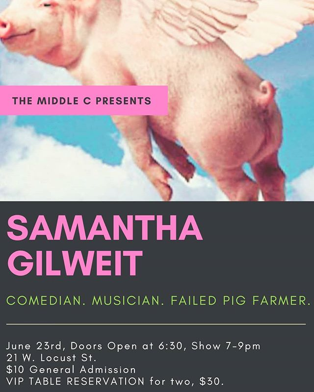 Comedy and Music night featuring Samantha Gilweit: Musician, Single-mom, Failed Pig Farmer. *must be over 18  June 23rd, 7-9pm.  VIP tables for 2 are $30 and General Admission is $10.  Tickets at www.themiddlec.org @samanthagilweit #comedy #standup #music #failedpigfarmer #bacon #datenight #viptables #Lodi #visitlodi #California #northerncalifornia #getstuck