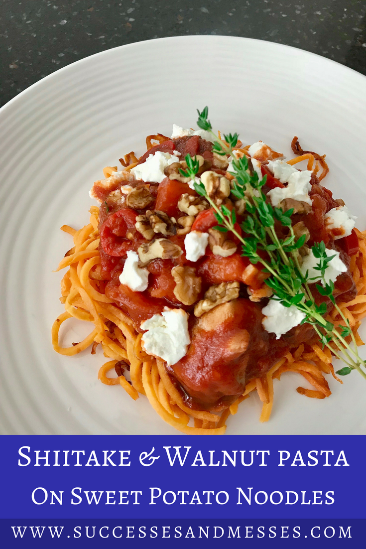 Shiitake walnut pasta on sweet potato noodles Pinterest