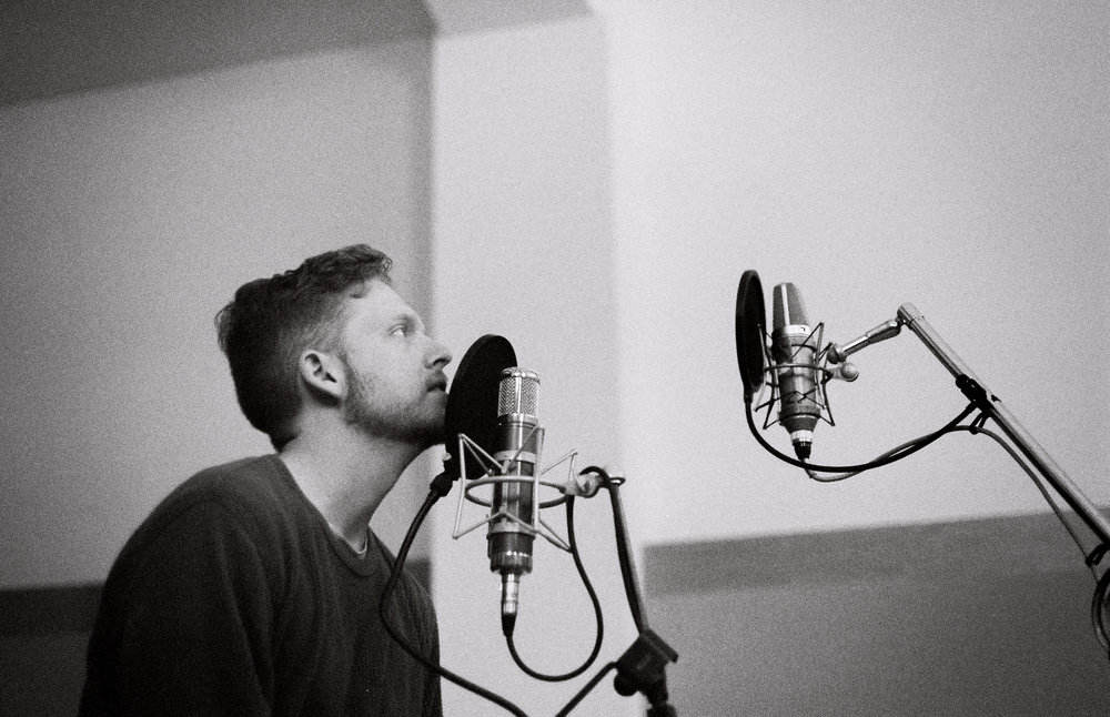 - One of my favorite pictures. Bobby singing into my Avntone CV-12 and a Neumann U67. In the end we actually used a couple of takes from the CV-12 over the 67. Maybe there isn't much of a difference in $500 and $11,000 after all...