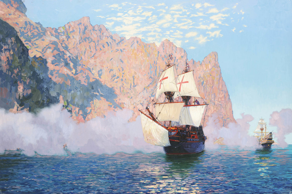 NEW ALBION. SIR FRANCIS DRAKE'S SHIP,OIL ON CANVAS - 60X90 CM