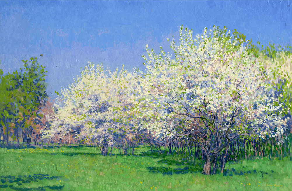 THE CHERRY ORCHARD, OIL ON CANVAS - 30X45 CM