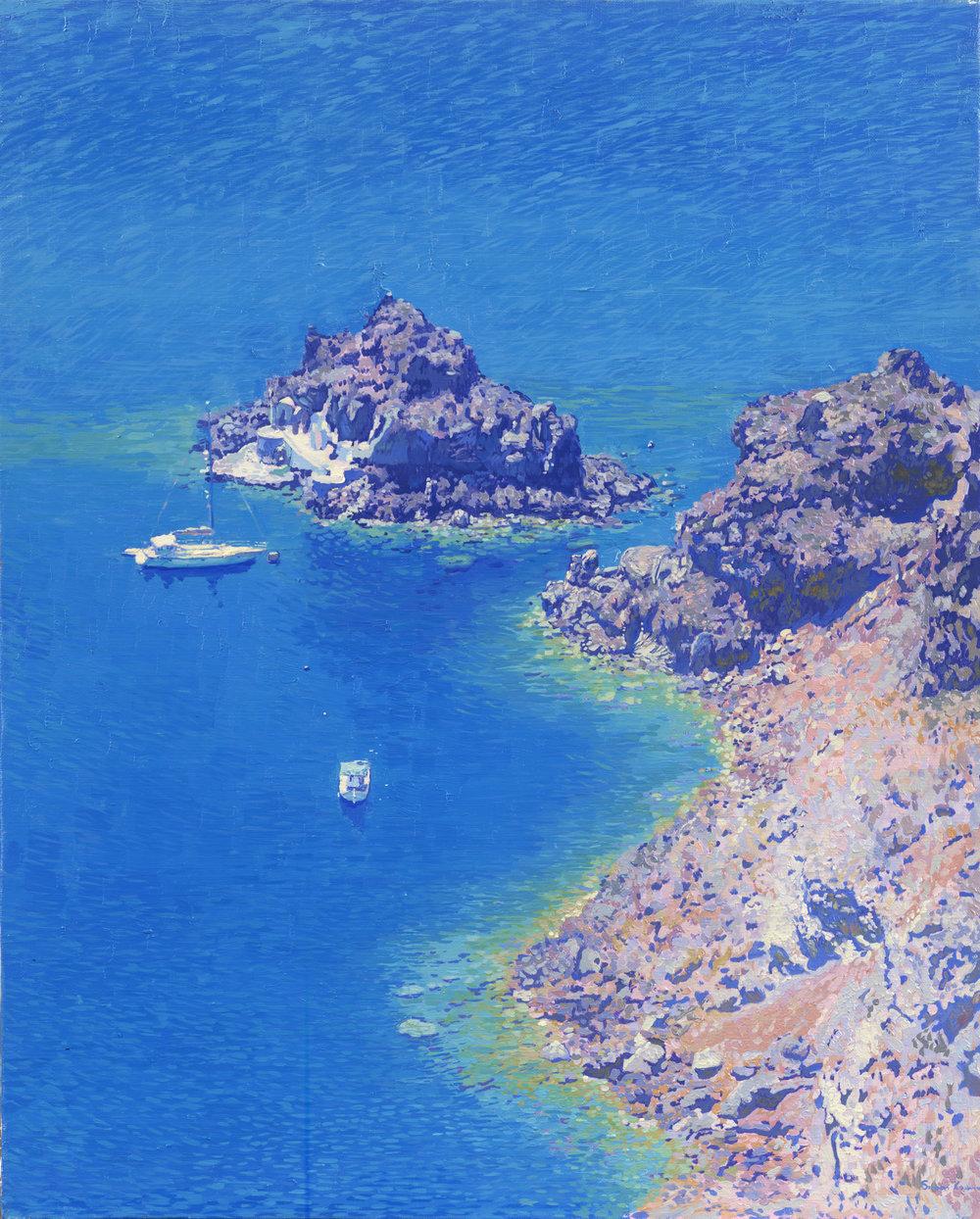 HARBOR. SANTORINI ISLAND, OIL ON CANVAS - 60X48 CM