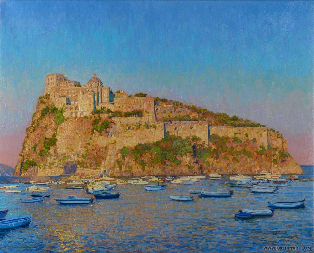 Aragonese Castle at sunset. Ponte Aragonese. Ischia. Italy. 2013. Oil on canvas on cardboard, oil. 25 x 35 cm