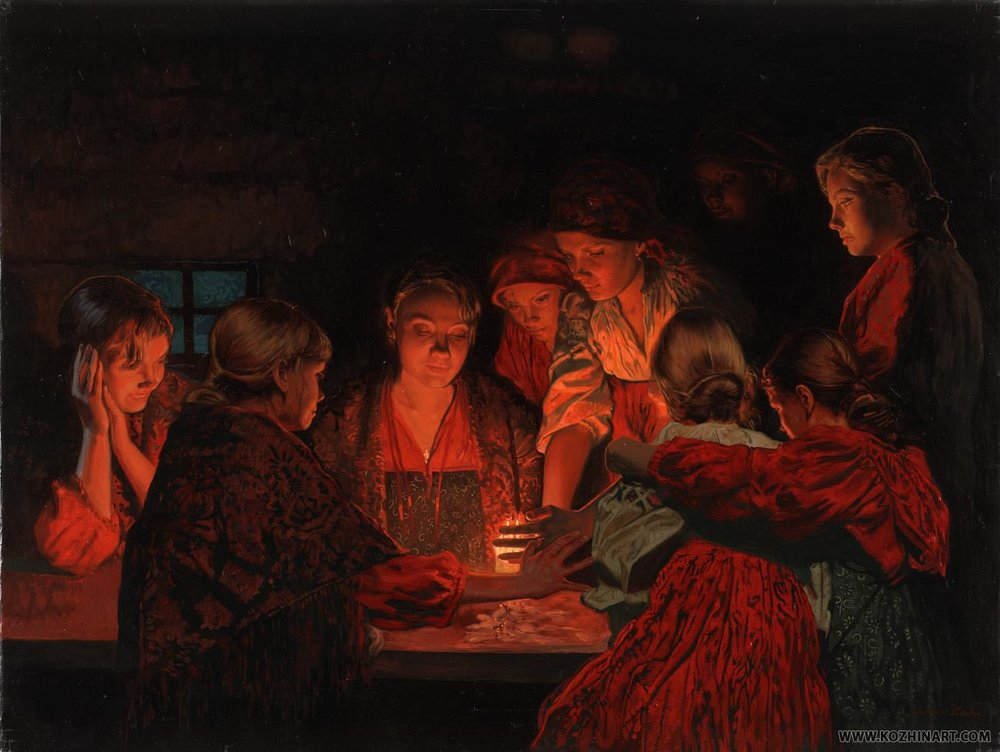 """Christmas Fortune-Telling. 2008. Canvas, oil. 60 x 80 cm. """"Culture's Property""""Foundation. St. Petersburg"""