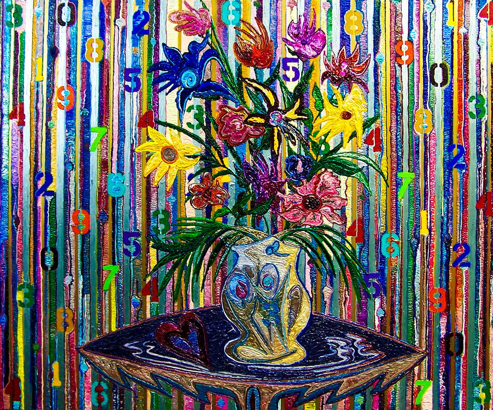 """Flowers & Numbers"" - Oil on canvas."