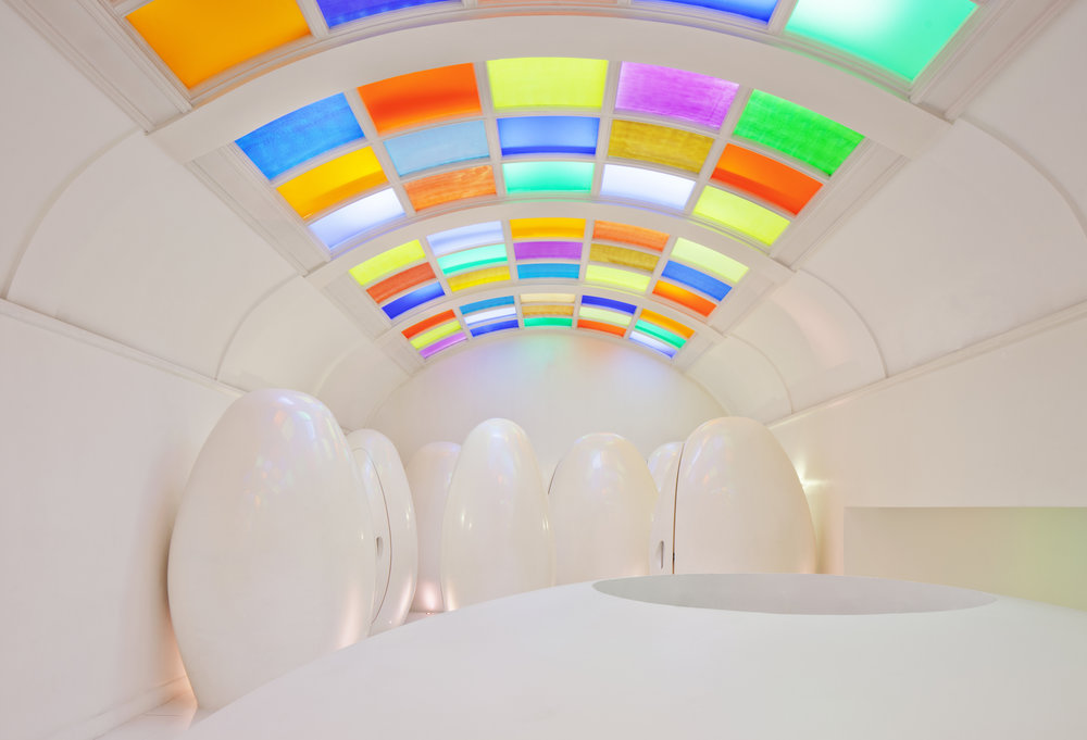 The retro - futurist bathroom designed by Duchaufour-Lawrance, has become a must-visit for selfies aficionados.